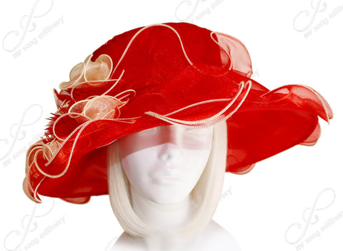 Derby/Ascot Crin & Organza All-Season Hat - Red/Gold