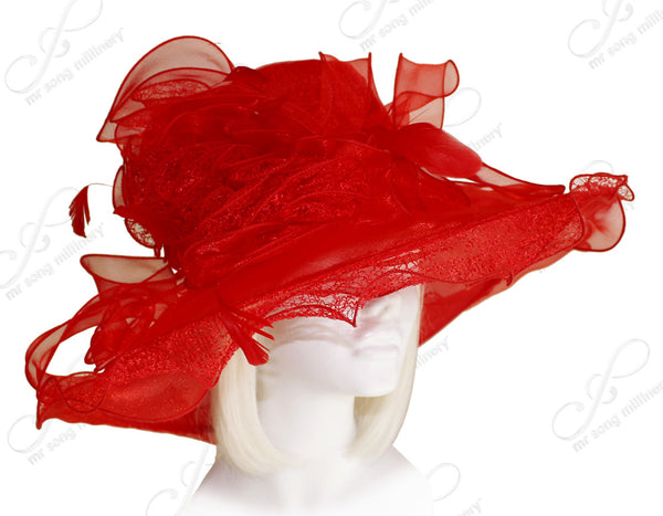 Mr. Song Millinery Derby/Ascot Crin & Organza All-Season Hat - Red
