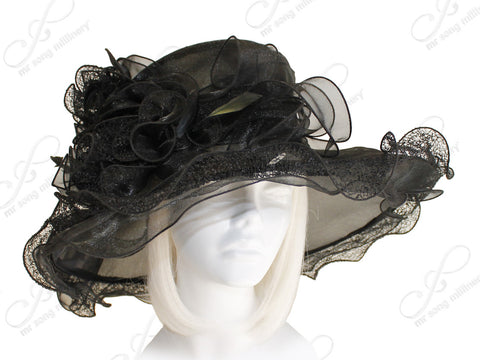 Derby/Ascot Crin & Organza All-Season Hat - 2 Colors