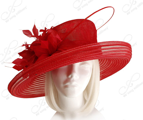 Derby/Ascot Crin & Sinamay All-Season Hat - Red