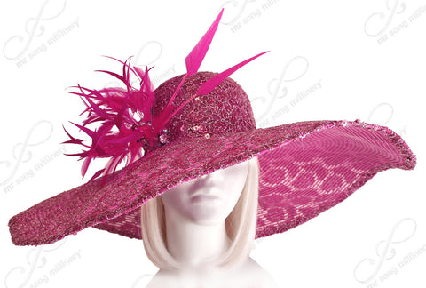 Derby/Ascot Crin & Lace All-Season Wide Brim Hat - Magenta Pink