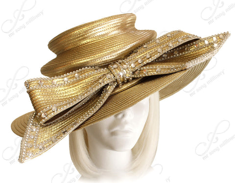 3-Tier Crown Wide Brim Hat - Gold