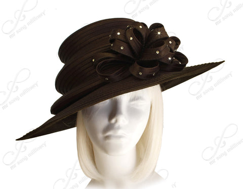 3-Tier Crown Wide Brim Hat - Brown