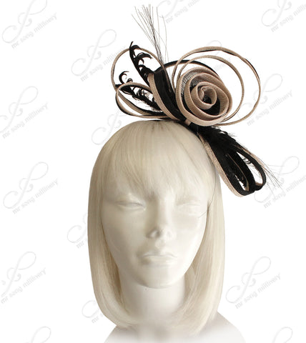 Sinamay Fascinator Headband - Black/Beige