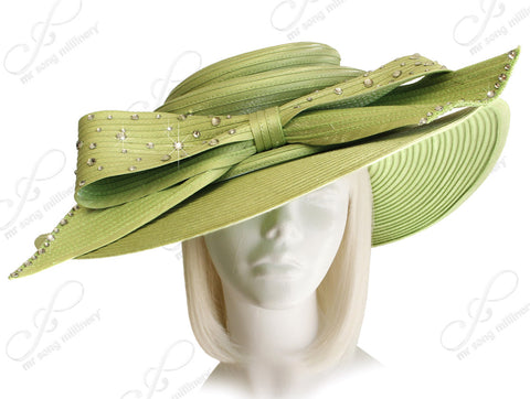 3-Tier Crown Wide Brim Hat - Avocado