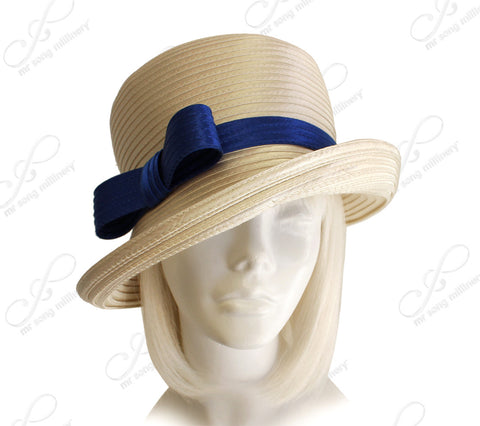 Medium Brim Hat With Sleek Bow Accent - Alabaster/Sapphire