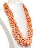 Beautiful Beaded Stacked Necklace And Earrings Set - Coral