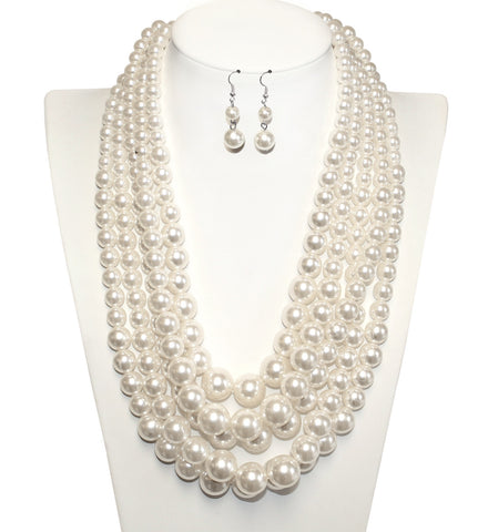 Multi-Layer Necklace & Earrings Jewelry Set - Pearl