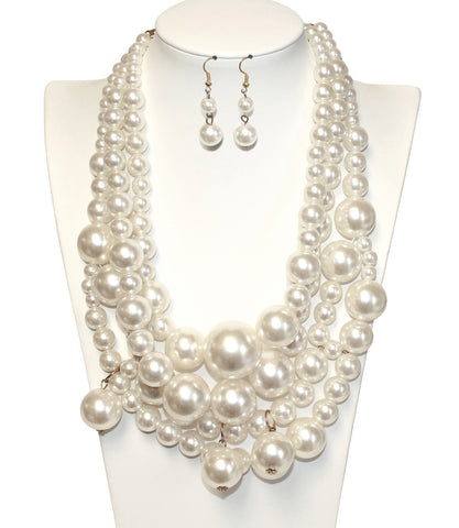 Pearl Beaded Necklace Jewelery + Matching Earrings - Ivory/Gold