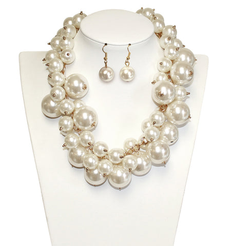 Pearl Beaded Necklace Jewelery + Matching Earrings - Pearl Ivory/Gold