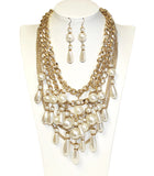Pearl Bead Necklace Jewelery + Earrings