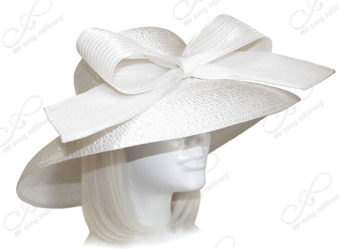 Rounded Crown Medium-Large Width Tiffany Brim Hat - Off White
