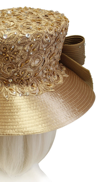 Mr. Song Millinery Stovetop Madhatter Crown Hat With Premium Lace - Taupe