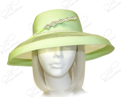 Tagline Tiffany Brim Hat Rhinestone Accent - Lime Green