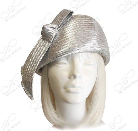 Beret Cloche Hat With Ribbon/Rhinestone Detail - Silver