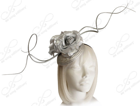Derby/Ascot Beanie Fascinator With Signature Accent - Silver