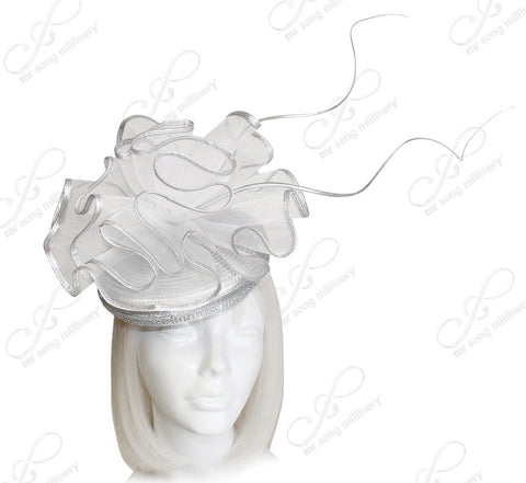 Crin Veil Beanie Fascinator Headpiece - Silver/White