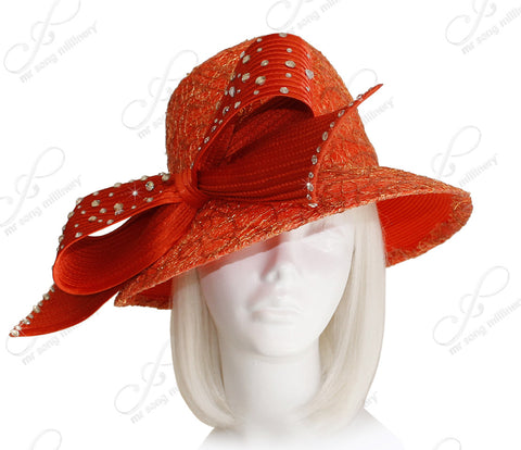 Fedora Style Bucket Cloche Hat With Lace & Rhinestones - Orange