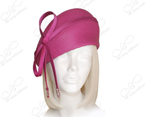 Straw-Tagline Structured Beret Cloche Hat With Rhinestones - 2 Colors