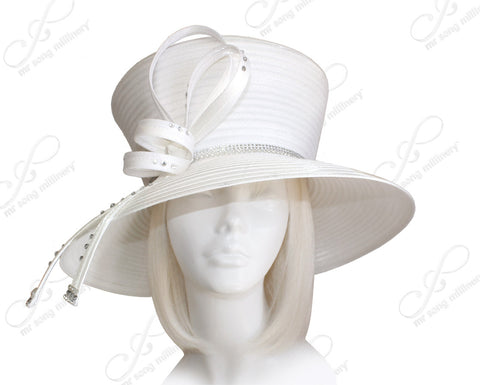 Flare-Crown Wide Brim Hat With Rhinestone Accent - White