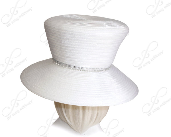 Mr. Song Millinery Flare-Crown Wide Brim Hat With Rhinestone Accent - White