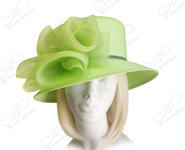 Mr. Song Millinery Tagline Medium Width Brim Hat With Crin Accent - 4 Colors