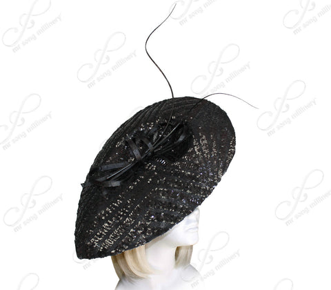 Derby/Ascot Profile Lace Fascinator With Signature Accents - Black