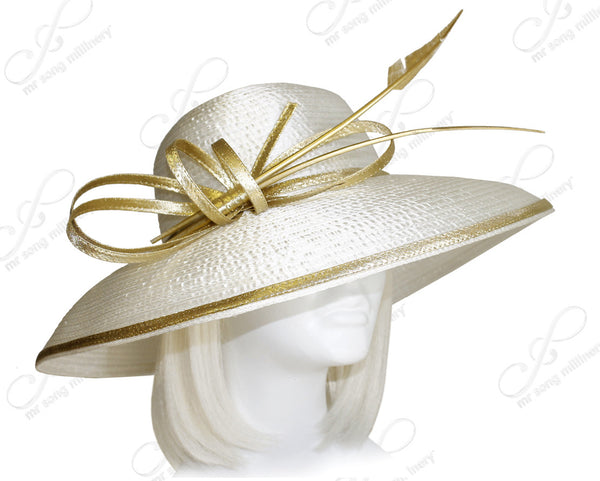 Mr. Song Millinery Rounded Crown Wide-Width Tiffany Brim Hat - Off White/Gold