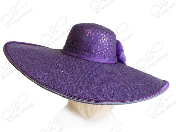 Mr. Song Millinery Tagline Wide Brim Hat With Organza Flower - Purple