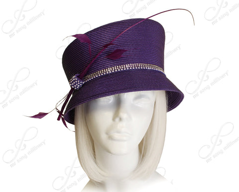 Straw-Tagline Slant-Crown Bucket Cloche Hat With Rhinestone Accent - Purple