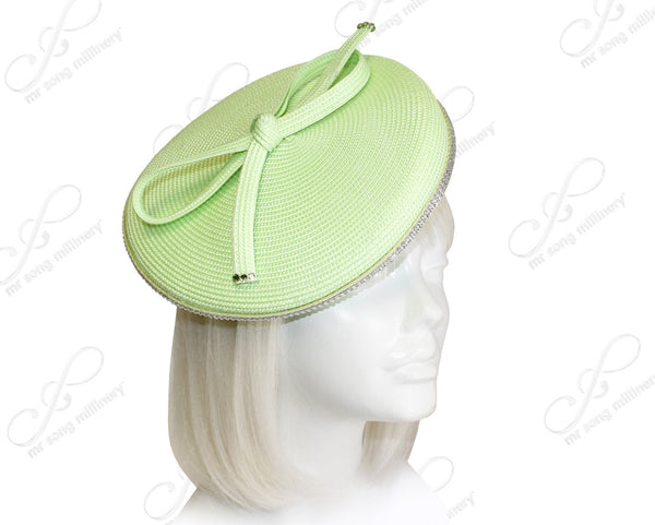 Mr. Song Millinery Profile Dish Beanie Fascinator Headband - Light Green