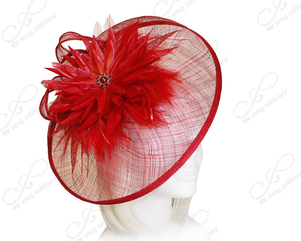 Mr. Song Millinery Profile Dish Sinamay Fascinator Headband - Red