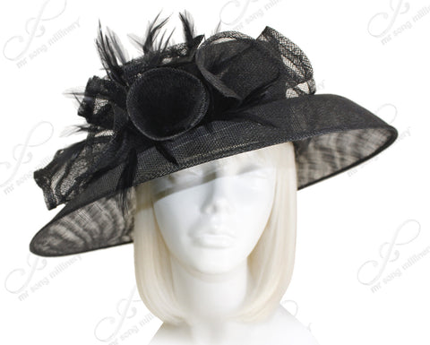 Derby/Ascot Sinamay Hat With Large Brim - 2 Colors