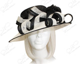 Derby/Ascot Sinamay Hat With Curl Ribbon Accent - Black/White