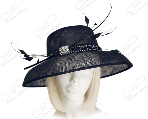 Derby/Ascot Sinamay Hat With Rhinestone Accent -Navy Blue