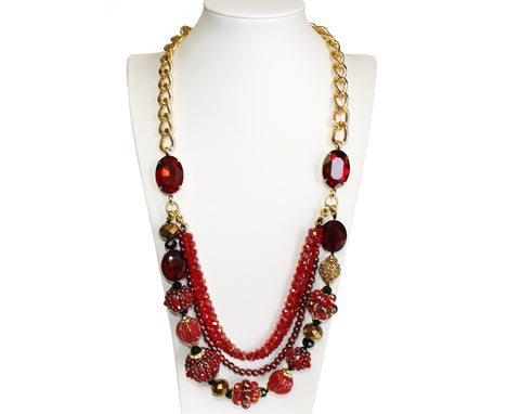 Mr. Song Millinery Laser-Cut Ruby Red Necklace Jewelery - Red
