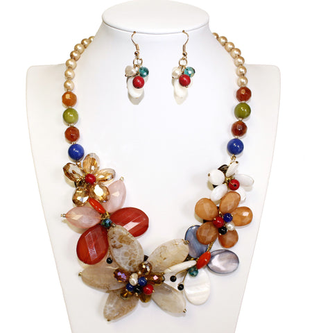Laser-Cut Beaded Multi-Colored Necklace & Earrings Jewelery Set