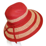Wide-Brim Two Tone Straw Summer Floppy Hat - 3 Colors