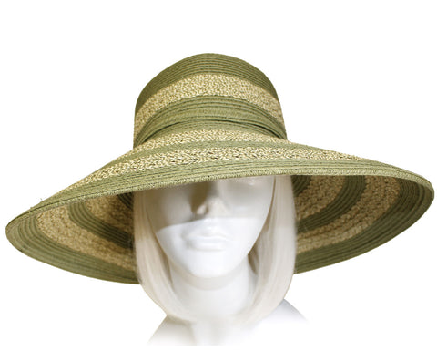 Wide-Brim Two Tone Straw Summer Floppy Hat - 2 Colors