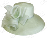 Sage Green - Tagline Wide Brim Hat With Crin Accent