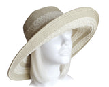 Wide-Brim Two Tone Straw Summer Floppy Hat - 4 Colors