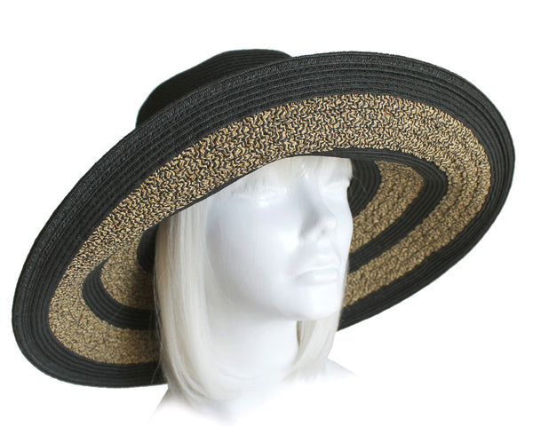 Mr. Song Millinery Wide-Brim Two Tone Straw Summer Floppy Hat - 3 Colors