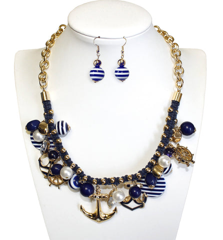 Nautical Sailor Themed Necklace & Earrings Jewelery Set