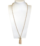 Beautiful & Elegant Tassel Beaded Necklace - Pearl