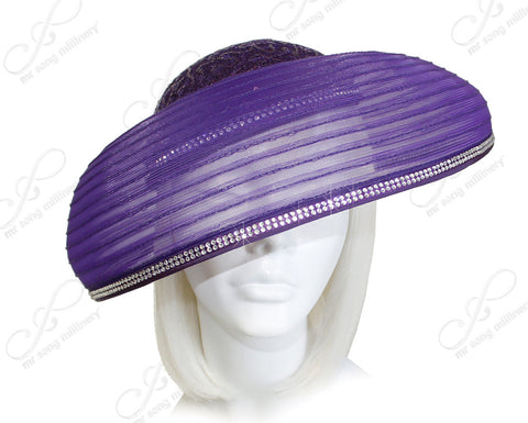 All-Season Crin Brim Hat With Rhinestones - Purple