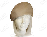 Beige - Tagline Straw Structured Beret Cloche Hat Body