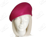 Fuchsia Pink - Tagline Straw Structured Beret Cloche Hat Body