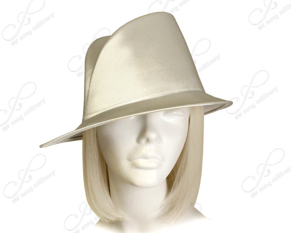 Mr. Song Millinery Satin Fedora With Bias Slant Brim Hat Body - Assorted Colors