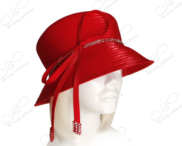 Mr. Song Millinery Medium Brim Hat With Tasseled Rhinestone Accent - Red