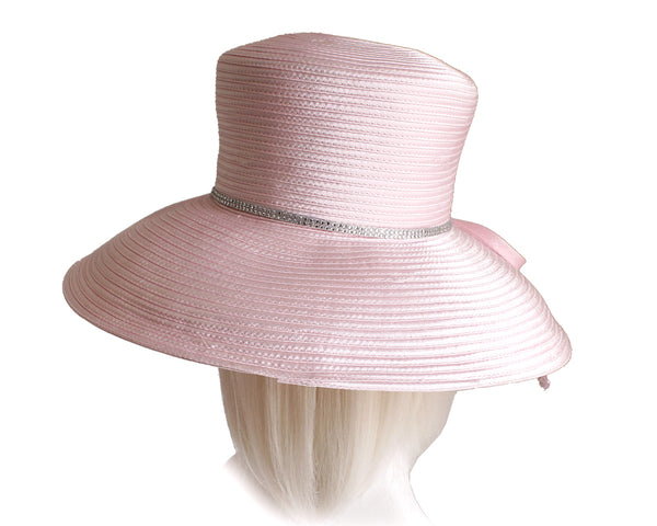Mr. Song Millinery Wide Tiffany Brim Hat With Knot Bow & Rhinestone Accent - 5 Colors